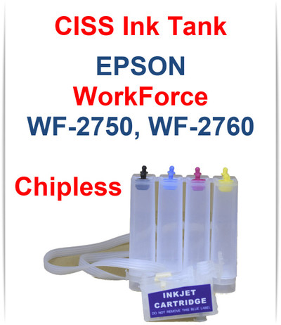 CISS Chipless Ink Tank for Epson WorkForce WF-2750 WF-2760 Printers