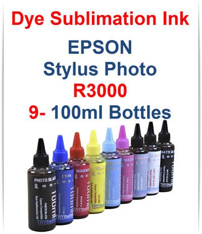 9 - Dye Sublimation Ink 100ml Bottles Epson Stylus Photo R3000 printer Photo Black, Cyan, Magenta, Yellow, Light Cyan, Light Magenta, Light Black, Matte Black, Light Light Black 100ml bottles Dye Sublimation Ink