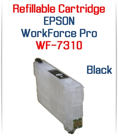 Black Refillable Ink Cartridge with chip installed for Epson WorkForce Pro WF-7310 Printer