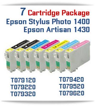 7 Cartridge Package T079 Epson Epson Stylus Photo 1400 & Artisan 1430 Compatible Printer Ink Cartridges
