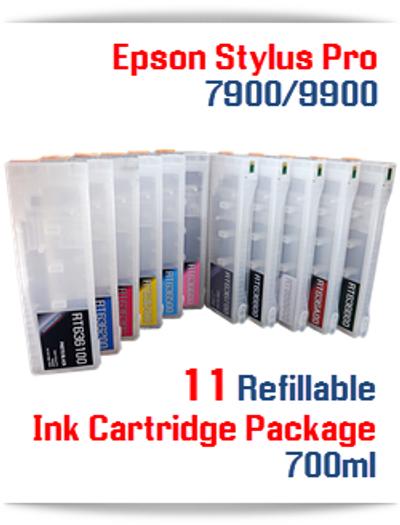 11 Cartridge Package - Epson Stylus Pro 7900, 9900 Refillable Ink Cartridges 700ml