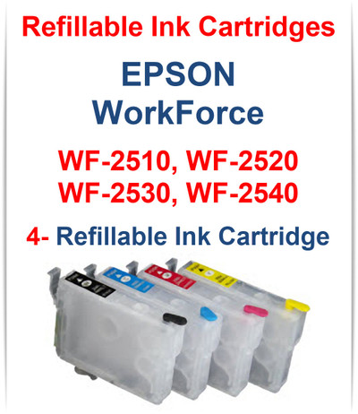 4- Refillable Ink Cartridges for Epson WorkForce WF-2510 WF-2520 WF-2530 WF-2540 printers Cartridges included: T200120, T200200, T200320, T200420