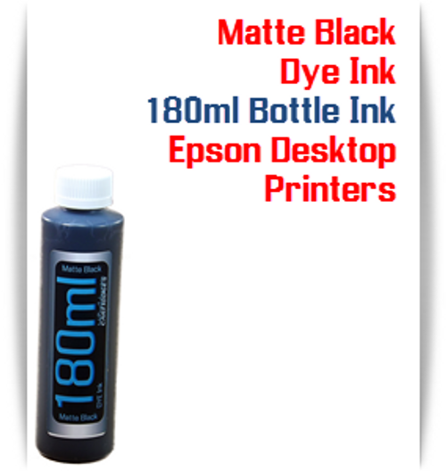 Matte Black 180ml Bottle Dye Ink for Epson Small all in one Desktop Printers