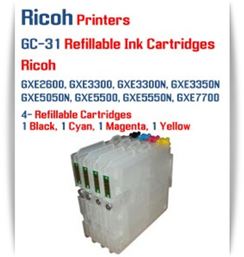 RICOH GC-31 - 4 Color Refillable Ink Cartridges with Auto Reset Chips