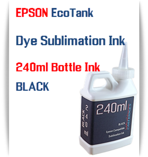 Black EPSON EcoTank printer Dye Sublimation Ink 240ml bottles