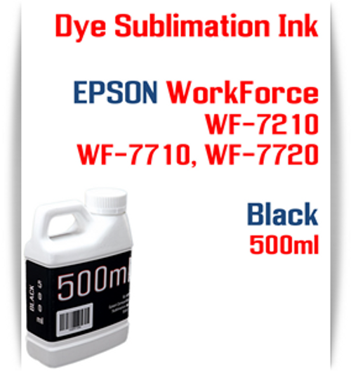 Black 500ml bottle Dye Sublimation Ink  Epson WorkForce WF-7210, WorkForce WF-7710, WorkForce WF-7720 printers