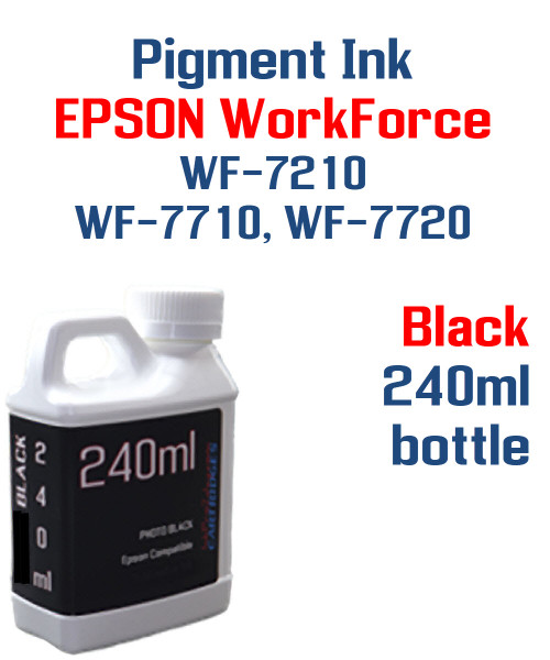 Black Pigment ink 240ml bottle Epson WF-7210 WF-7710 WF-7720 printers
