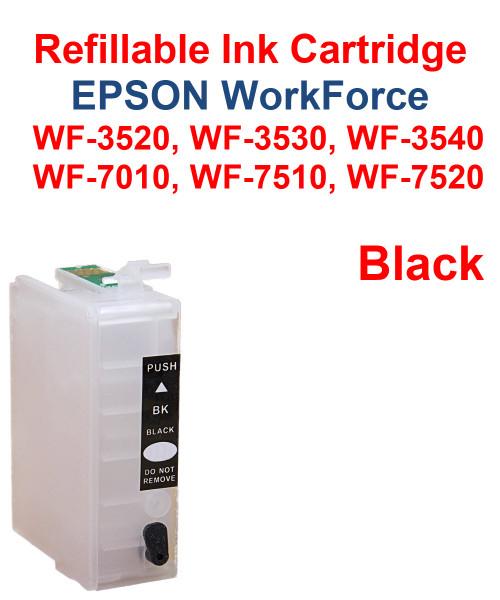 Black Refillable Cartridge Epson WorkForce WF-3530,  WF-3540, WF-7010, WF-7510, WF-7520 printers