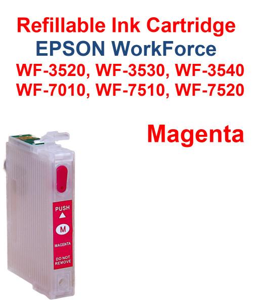 Magenta Refillable Cartridge Epson WorkForce WF-3530,  WF-3540, WF-7010, WF-7510, WF-7520 printers