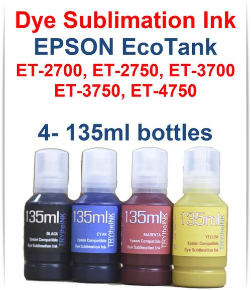 4- 135ml bottles Dye Sublimation Bottle Ink for EPSON EcoTank ET-2700 ET-2750 ET-3700 ET-3750 ET-4750 Printer Included in package: 1- Black, 1- Cyan, 1- Magenta, 1- Yellow 135ml bottles of Dye Sublimation Ink