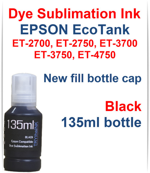 Black 135ml bottle Dye Sublimation Bottle Ink for EPSON EcoTank ET-2700 ET-2750 ET-3700 ET-3750 ET-4750 Printer