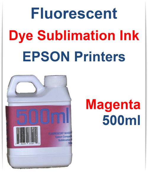 Magenta 500ml bottle Fluorescent Dye Sublimation Ink for EPSON Printers