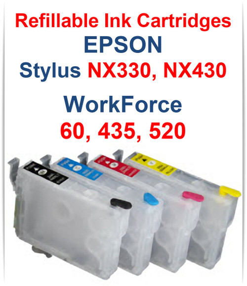4 Refillable Ink Cartridges for Epson WorkForce 60 435 520, Epson Stylus NX330 NX430 Printers Package Includes: 1 T126120 Black, 1 T126220 Cyan, 1 T126320 Magenta, 1 T126420 Yellow empty Refillable ink Cartridges, 4 Syringes for filling