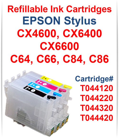 4- Refillable Ink Cartridges for Epson Stylus CX4600 CX6400 CX6600 printers T044120 Black, T044220 Cyan, T044320 Magenta, T044420 Yellow