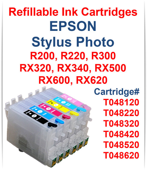 6- Refillable Ink Cartridges with auto reset chips for Epson Stylus Photo RX320 RX340 RX500 RX600 RX620 printers
