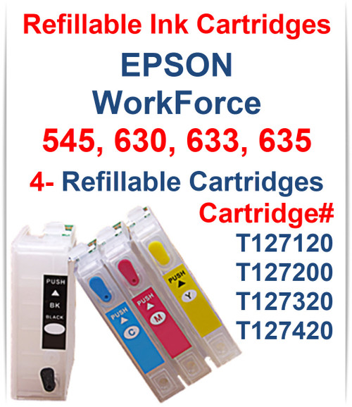 4 Refillable Ink Cartridges with auto reset chip for EPSON WorkForce 545 630 633 635 Printers