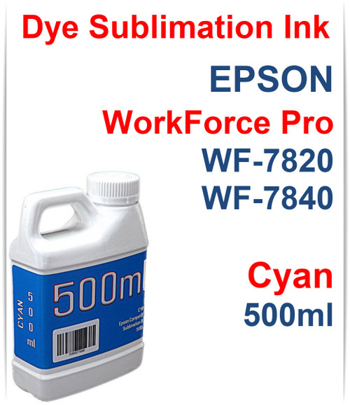 Cyan 500ml bottle Dye Sublimation Ink for Epson WorkForce Pro WF-7820 WF-7840 Printers