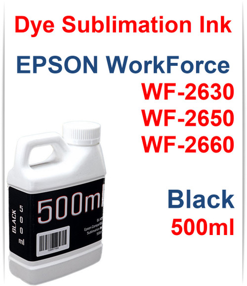 Black 500ml bottle Dye Sublimation Ink for Epson WorkForce WF-2630 WF-2650 WF-2660 Printers