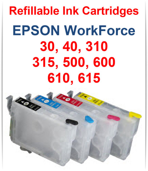 4- Refillable Ink Cartridges for EPSON WorkForce 30, 40, 310, 315, 500, 600, 610, 615 Printers