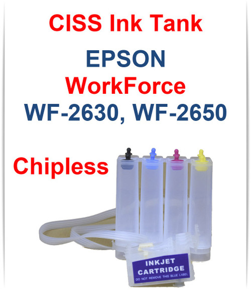 CISS Chipless Ink Tank for Epson WorkForce WF-2630 WF-2650 Printers