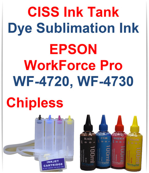 CISS Chipless Ink Tank 4 100ml Bottles Dye Sublimation Ink for Epson WorkForce Pro WF-4720 WF-4730 Printers