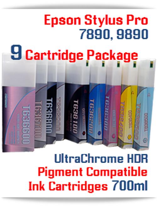 9 Cartridge Package Deal Epson Stylus Pro Printers 7890, 9890 printers
