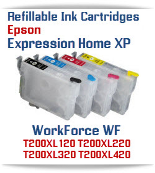 Refillable Epson Expression Home XP, WorkForce WF printer ink cartridges