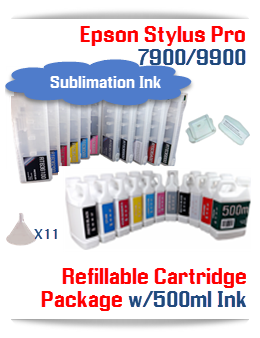 Epson Stylus Pro 7900, 9900 11 Refillable Cartridges with 11 500ml bottles of Sublimation ink , Chip Re-Setter, 11 funnels