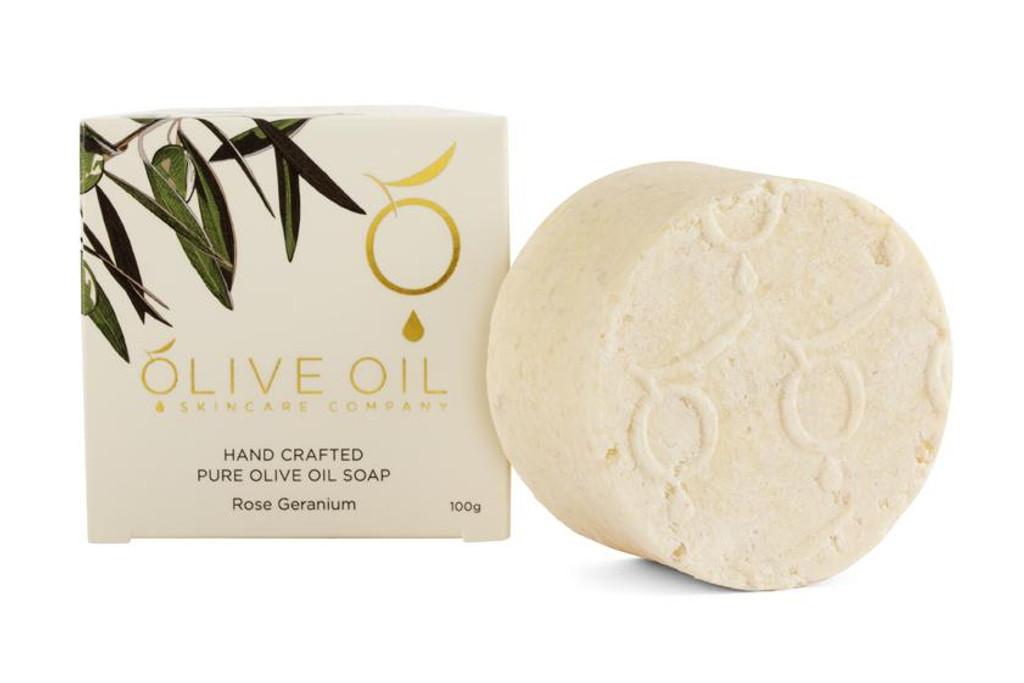 Olive Oil Skincare Handmade Rose Geranium Soap 100g
