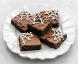 B L O O D (Orange) Spiderweb Brownies