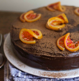Dark Chocolate Cake with Blood Orange Ganache