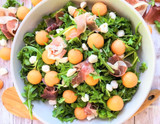 Melon, Prosciutto and Arugula Salad with Peach-Lemon Vinaigrette