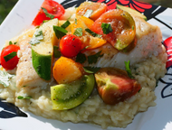 Pan Seared Halibut with Heirloom Tomato & Squash Salad