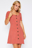 Square Neck Button Down Dress - Rust