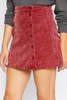 Masha Corduroy Mini Skirt - Cherry