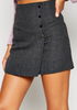 Button Wrap Skirt - Charcoal