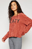 Lazy Graphic Sweater Top - Red