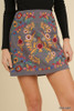 Floral Embroidered Short Skirt with Zipper by Umgee