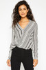 Callie Striped Surplus Top - Black Ivory