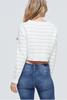 Ann Stripe Crop Sweater Top - Cream