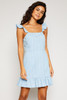 Ella Strap Ruffle Dress - Light Denim