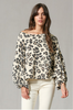 Terry Leopard Print Top - Brown