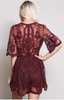 Chloe Laced Embroidered Romper - Black/Burgundy/Mustard