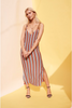 Stripey Loose Fit Maxi Dress - Multi-Colors