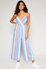 Summer Wrap Sleeveless Jumpsuit - Blue