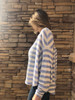 Waffle Striped Pullover Top - Mauve/Blue