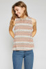 Aanya Striped Knit Mock Neck Top - White Cream / Olive