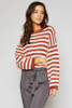 Ione Stripe Sweater - White/Burnt Orange