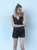 Kontatto - Romper Lace Flowers - Black-Nude