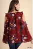 V-neck floral top with open shoulders - Burgundy